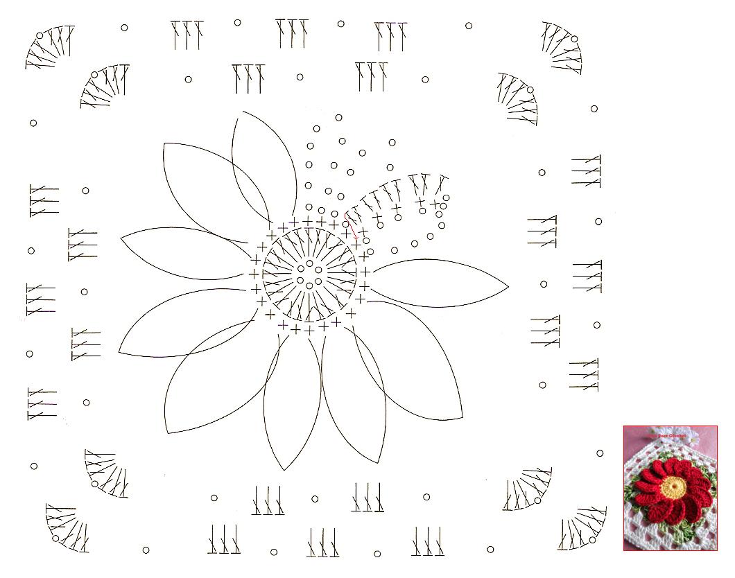 Quadrado com Flor Crochet Granny Square GR